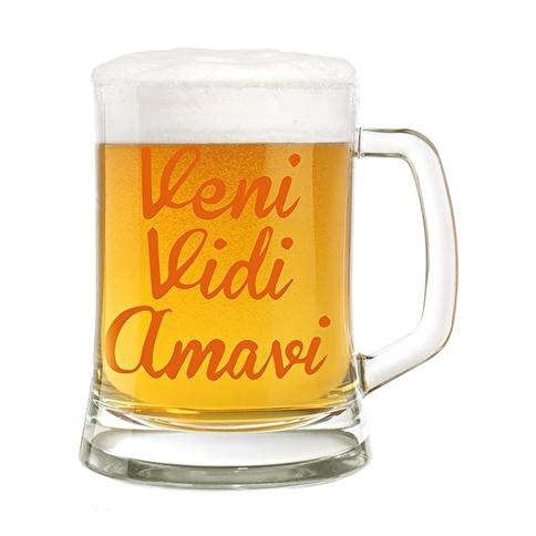 Rakle Venı Vıdı Amavı Bira Bardağı Renksiz